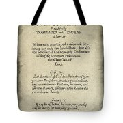 Psalms Hand Written Book Plate 1640 Tote Bag