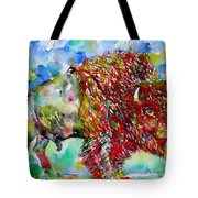 Psychedelic Buffalo Tote Bag