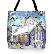 Psychedelic English Village Church In Winter Tote Bag