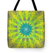 Psychedelic Spiral Vortex Yellow And Gray Fractal Flame Tote Bag