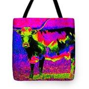 Psychedelic Texas Longhorn Tote Bag