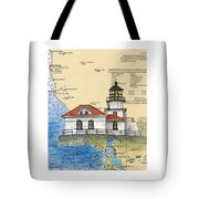 Pt Bonita Lighthouse Ca Nautical Chart Map Art Tote Bag