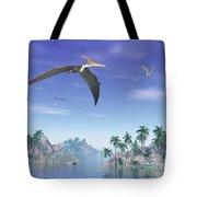 Pteranodon Birds Flying Above Islands Tote Bag