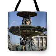 Public Fountain At The Place De La Concorde In Paris France Tote Bag