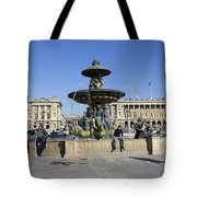 Public Fountain At The Place De La Concorde Tote Bag