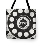 Public Telephone 1957 In Black And White Retro Tote Bag
