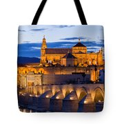 Puente Romano And Mezquita At Twilight In Cordoba Tote Bag