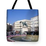 Puerta Del Sol In Madrid Tote Bag
