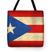 Puerto Rico Flag Vintage Distressed Finish Tote Bag by Design Turnpike