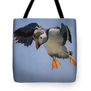 Puffin Landing Tote Bag by Eric Burgess-Ray