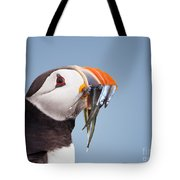 Puffin With Sandeels Portrait Tote Bag