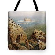 Puffins On Lundy Island Oil On Canvas Tote Bag