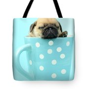 Pug In A Cup Tote Bag by Greg Cuddiford
