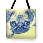Pug Puppy Pastel Sketch Tote Bag