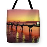 Puget Sound Olympic Mountains Fishing Pier Tote Bag