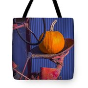 Pumpkin On Tractor Seat Tote Bag
