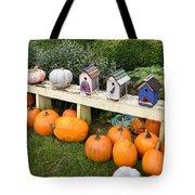 Pumpkins And Birdhouses Tote Bag