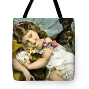 Puppies Kittens And Baby Girl Tote Bag