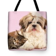 Puppy And Kitten Tote Bag by Greg Cuddiford