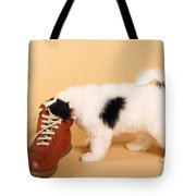 Puppy Dog With Head In Red Shoe Tote Bag