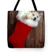 Puppy In Christmas Stocking Tote Bag