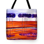 Purple And Blue Trees Abstract Tote Bag