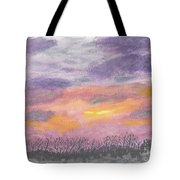 Purple And Gold November Sunset In West Michiganwatercolor Tote Bag