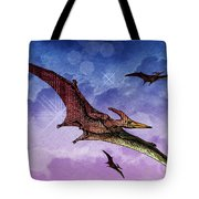 Purple And Green Ptreodactyls Soaring In The Sky Tote Bag