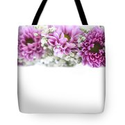 purple and mauve Flower frame on white  Tote Bag