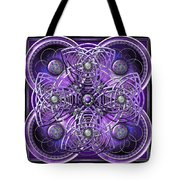 Purple And Silver Celtic Cross Tote Bag