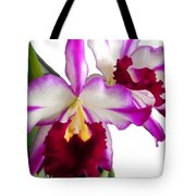 Purple And White Cattleyas Against White Space Tote Bag