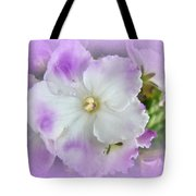 Purple And White Fancy African Violets Tote Bag