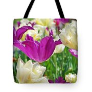 Purple And White Tulips Tote Bag