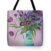 Purple Belle Bouquet  Tulips And Irises Tote Bag