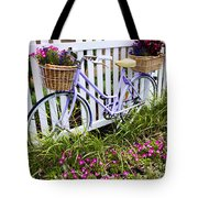 Purple Bicycle And Flowers Tote Bag