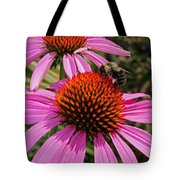 Purple Cone Flower With Bee Tote Bag
