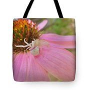 Purple Coneflower With Crab Spider Tote Bag