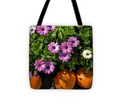 Purple Daisies And A Touch Of Orange Tote Bag