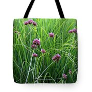 Purple Flowers And Grasses Tote Bag