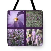 Purple Flowers Collage Tote Bag