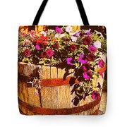 Purple Flowers In Rusty Bucket Tote Bag