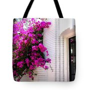 Purple Flowers On White Florida Home Tote Bag