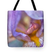 Purple Glow. Macro Iris Series Tote Bag