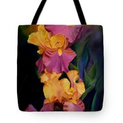 Purple Gold Irises  Tote Bag