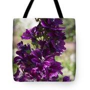 Purple Hollyhock Flowers Tote Bag