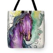 Purple Horse Tote Bag by Angel  Tarantella