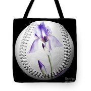 Purple Iris High Key Baseball Square Tote Bag by Andee Design