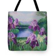 Purple Irises At Catfish Corner Tote Bag