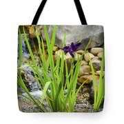 Purple Irises Growing In Waterfall Tote Bag