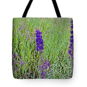 Purple Larkspur In A Meadow In Yellowstone National Park-wyoming Tote Bag